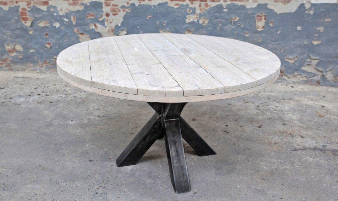 Ronde Tafel Steigerhout : Industriële ronde tafel steigerhout op maat laten maken exclusief